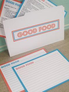 Printable and EDITABLE - Good Food Recipe Cards