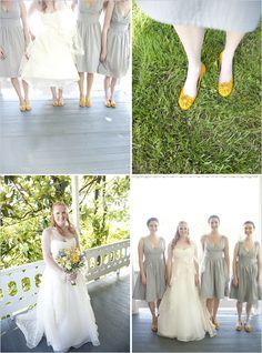 #grey dress with yellow shoes...  Yellow Dress #2dayslook #fashion #nice #YellowDress  www.2dayslook.nl