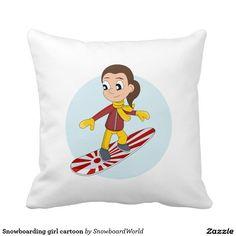 Snowboarding girl cartoon pillow