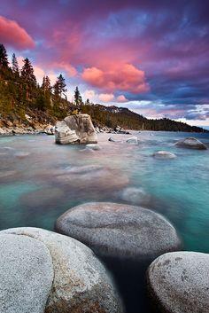 Sky on fire, Lake Tahoe, California