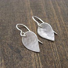 small hammered sterling silver leaf earrings Amazon.com: Andrea Wysocki Jewelry: Handmade