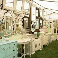 LOVE this for a girly shoot.... hang the mirror from a tree. Have girl set up with make up and antique spray bottles.