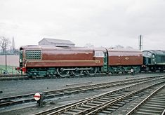 English Electric built Gas Turbine experimental locomotive GT3 seen at Whitchurch in the company of 'Peak' D10, 1/61.