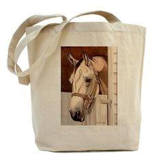 Horse Arabian Arab White Totebag Bag Tote Bookbag Canvas Grocery Barn