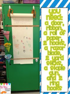 Ticket in the Door - Grade - Classroom Procedure - An Interactive door. I like this idea! Its really cool, and the kids would love to write their answers down. I would count this as a grade, so that everyone participates in it. 4th Grade Classroom, Classroom Walls, Science Classroom, Future Classroom, Classroom Ideas, Classroom Design, Classroom Displays, Classroom Door Signs, Seasonal Classrooms