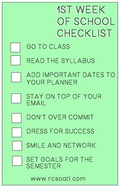 1st week of school checklist! #college #highschool #gradschool