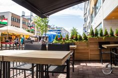 Terrace furniture made from larch tree. Brings summer feeling and central European atmosphere to the urban environment. Local Bistro, Larch Tree, Custom Woodworking, Rustic Interiors, Furniture Making, Terrace, Restaurant, Summer Feeling, Interior Design
