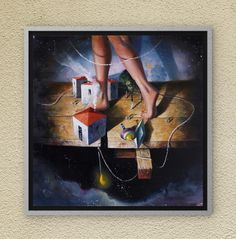 Walking through Dreamland. Oil on canvas. Oil On Canvas, Canvas Wall Art, Night Skies, Childhood Memories, Fairy Tales, Walking, Symbols, Paintings, Sky