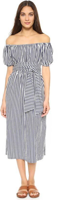 Jersey striped maxi dress. MDS Stripes Marina Off Shoulder Dress