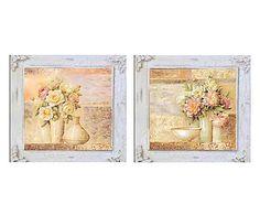 Quadro in legno Vaso di fiori assortito, 58x58x2 cm