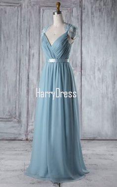ce5b5106d8 Light Blue A Line V Neck Lace Chiffon Floor Length Sashes Ribbons  Bridesmaid Dress