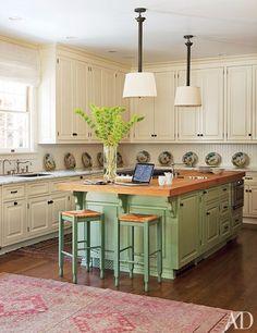 Beautiful Distressed Green Kitchen Cabinets