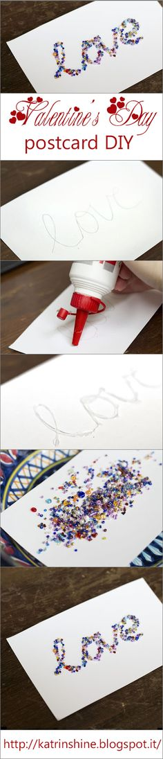 Valentines Day postcard DIY step-by-step tutorial: http://katrinshine.blogspot.it/2013/02/valentines-day-handmade-card-with-seed.html