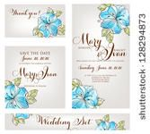 stock vector : Wedding invitation, thank you card, save the date cards. Wedding set. , ,