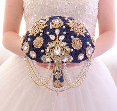 BROOCH BOUQUET Gold and navy blue. Wedding bridal blue bouquet by MemoryWedding on Etsy Bridal Brooch Bouquet, Brooch Bouquets, Wedding Bouquets, Alcohol Bouquet, Blue Bouquet, Beaded Earrings, Wedding Details, Wedding Planning, Wedding Stuff