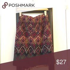 Winter skirt Burgundy and brown print skirt J. Jill Skirts Pencil