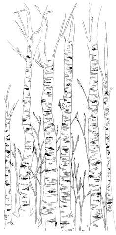 Birch Trees Illustration by eleanorgoetz on Etsy https://www.etsy.com/listing/223305435/birch-trees-illustration