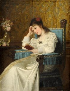 ✉ Biblio Beauties ✉ paintings of women reading letters & books - Ernst Anders | A Still Moment, 1878