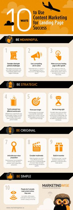 10 Ways To Use Content Marketing For Landing Page Success #infographic