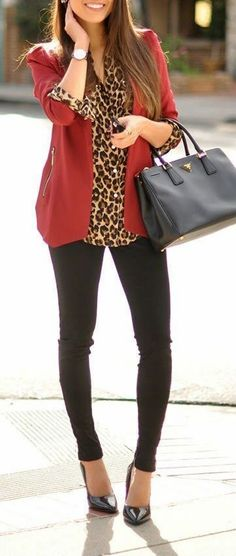 Business/Office Outfit with Wine Red Blazer,  Leopard Printed Shirt, Black Leggings, Heels and Prada Bag