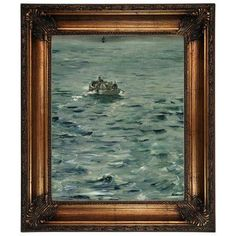 """Astoria Grand 'Rocheforts Escape 1881' by Edouard Manet Framed Oil Painting Print on Canvas Size: 29.25"""" H x 25.25"""" W, Format: Gold/Black Frame"""