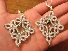 Handmade needle tatted Christmas earrings by CrafteroniNCheese.