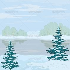 Winter Landscape of Forest and River