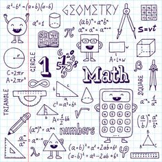 Immagine vettoriale stock 197415812 a tema Math Doodles Hand Drawn Vector Illustration (royalty free) Bullet Journal Lycéen, Doodle Drawings, Doodle Art, Doodle Frames, Circle Math, Sketch Notes, Binder Covers, School Notes