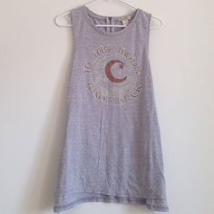 """Sleeveless Top """" to the moon and back"""" grey frizzy top with brown and cream words and moon. Small zipper in the back. Worn once - no stains or rips. 50% polyester 38% cotton 12% rayon. Measurement laying flat: bust: 19"""" length: 27"""" Lucky Brand Tops Tank Tops"""