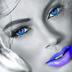 Blue Green Eyes, Purple, Eye Color, Color Pop, Color Splash Photo, Marilyn Monroe Artwork, Lavender Blue, Black And White Pictures, Color Photography