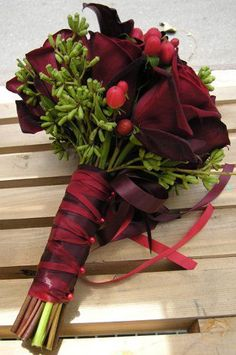 Very beautiful flowers in marsala color...
