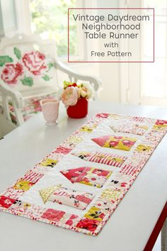 Embrace your vintage style with this vintage daydream neighborhood table runner with free pattern. It is also a great beginner project for quilters.
