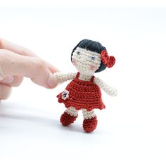 Handmade doll, crochet dolly, miniature toy, tiny doll, shower gift, cute girl's gift, red mini dress, collectible dolls ($19) found on Polyvore