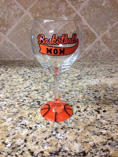 Basketball Mom Wineglass on Etsy, $20.00