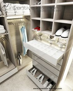 Projekt garderoby Inventive Interiors - luksusowa jasna garderoba