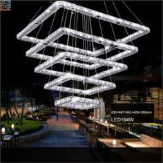 Square Crystal LED Pendant Light Fixture Rectangle Crystal Hanging Lamp 5 Squares Crystal Stair Lighting for Hotel Hallway Villa Led Ceiling Light Fixtures, Crystal Ceiling Light, Crystal Chandelier Lighting, Led Pendant Lights, Led Ceiling Lights, Pendant Light Fixtures, Hanging Lights, Unique Chandelier, Hotel Hallway