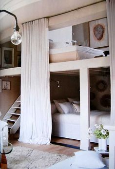 56 cool hidden bed ideas ⋆ Cool home and interior design ideas Bunk Rooms, Bunk Beds, Loft Beds, Hidden Bed, My New Room, Home Bedroom, Extra Bedroom, Master Bedroom, Cabin Bedrooms