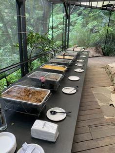 Baba Kevin's American Barbecue Co. Barbecue, Buffet, Table Settings, Rain, Tropical, Canning, American, Rain Fall, Barrel Smoker