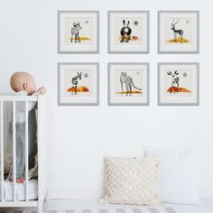 Looking for original art to create a stunning gallery wall for your jungle style kids room or nursery? Then our printmaking art is just for you. We created different original art prints that mix and match perfectly. Play with frames and matboards to create your unique style. Click through to see all our handmade artwork that's made to last. #artonpaper #artforframe #ecofriendly #smallfootprint #wildlife Baby Room Art, Kids Room Wall Art, Baby Room Decor, Nursery Art, White Nursery, Nursery Decor, Safari Nursery, Boho Nursery, Nursery Ideas
