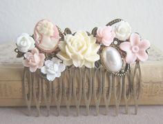 Jewelsalem - Pink Wedding Hair Comb Bridesmaid Gift Pink Blush Cream Ivory Soft Pastel Colors Flower Floral Shabby Chic Country Bridal Hair Accessories