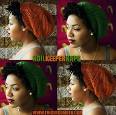 KOIL KEEPER KAPS are Back In Stock!!! (shown with TEENIE WEENIE AFRO Unit). visit www.fingercomber.com for your order :)