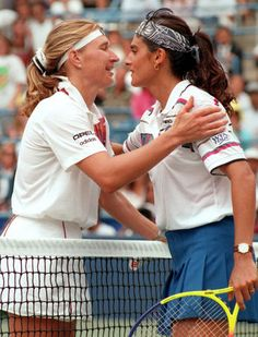 Steffi finishes Sabatini off at 1995 US Open - Steffi Graf (left) and Gabriela Sabatini of Argentina greet after their semifinal match at the 1995 US Open. Steffi beat Sabatini in straight sets 6-4, 7-6, as Steffi gained her 8th consecutive victory against Sabatini. This match also marked the 40th and final time these two rivals faced each other, with Steffi leading Sabatini 29-11 in head-to-head meetings.