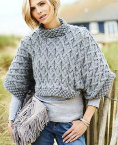 Free Knitting Pattern for Leonora Aran Tee - Cable pullover sweater knit in two pieces. Quick knit in chunky yarn. Sizes: Bust 32-34 36-38 40-42 44-46 in