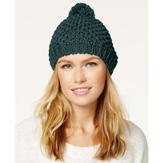 Rampage Metallic Knit Pom Beanie ($28) ❤ liked on Polyvore featuring accessories, hats, teal, knit beanie hats, knit beanie, knit pom pom beanie, knit pom pom hat and knit pom hat