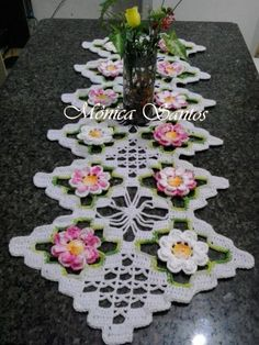 Crocheted doily with ribbon Crochet Dollies, Crochet Doily Patterns, Crochet Squares, Thread Crochet, Filet Crochet, Crochet Motif, Crochet Designs, Crochet Flowers, Crochet Stitches