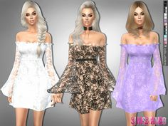 Created By sims2fanbg 229 - Lace dress with transparent sleeves Created for: The Sims 4 Dress in 14 different colors and new mesh. http://www.thesimsresource.com/downloads/1353848