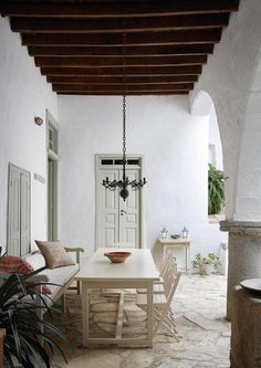 The paint colors for Tsigarida's homes are original but have been refreshed using traditional powder pigments.