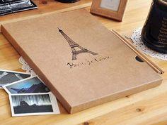 A4 Eiffel Tower Design ALBUM Kraft Paper DIY Photo Album 2sets/lot Free shipping