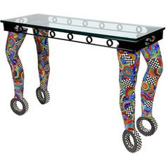 """Nancy Pollock """"Table with Four Legs"""" Mosaic Console Table"""