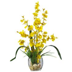 Found it at Wayfair - Liquid Illusion Dancing Lady Silk Orchids in Yellow with Vase